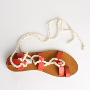 Steve Madden Red Leather Ankle Tie Beach Sandals